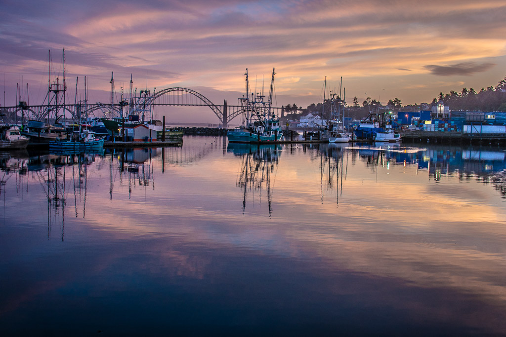 Sunset from Dock 5 in Newport, Oregon, Nikon D7100